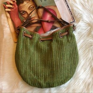 Fossil Green Straw and Leather Hobo Bag Purse